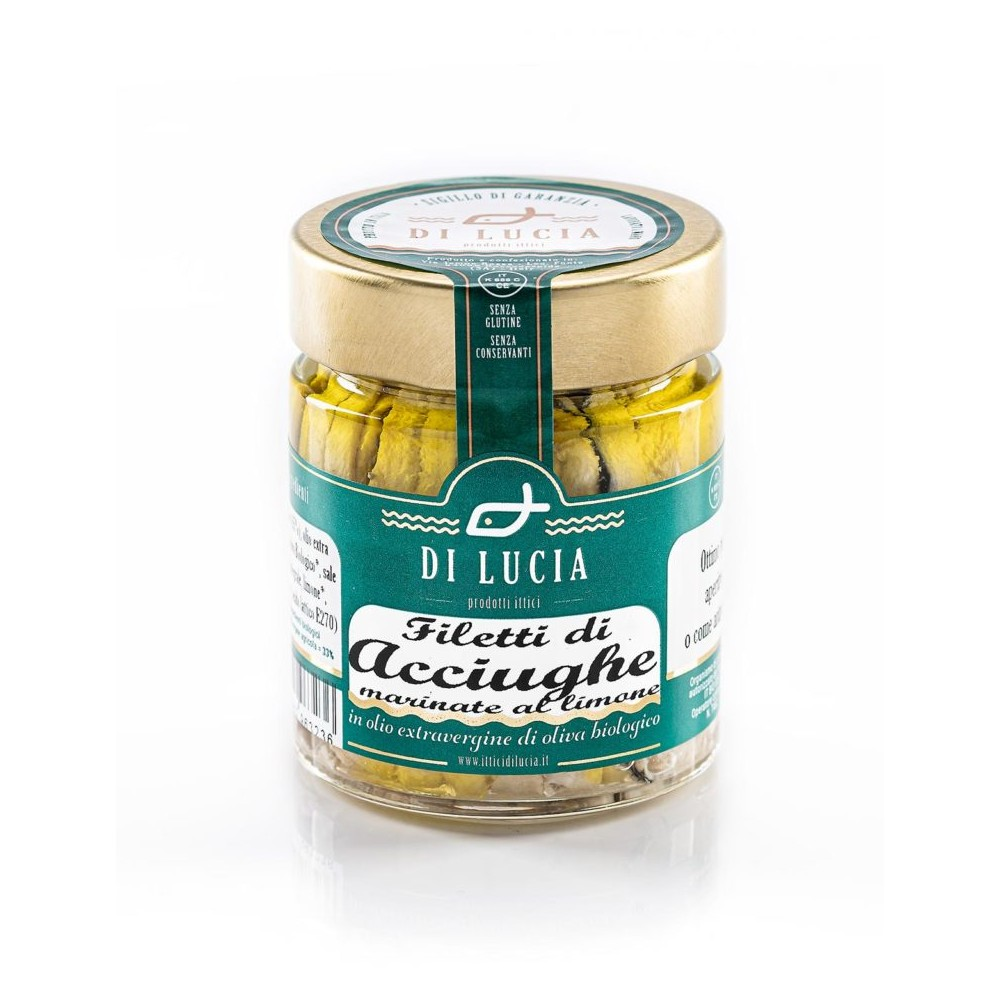 Filetti di Acciughe marinate al limone in olio biologico