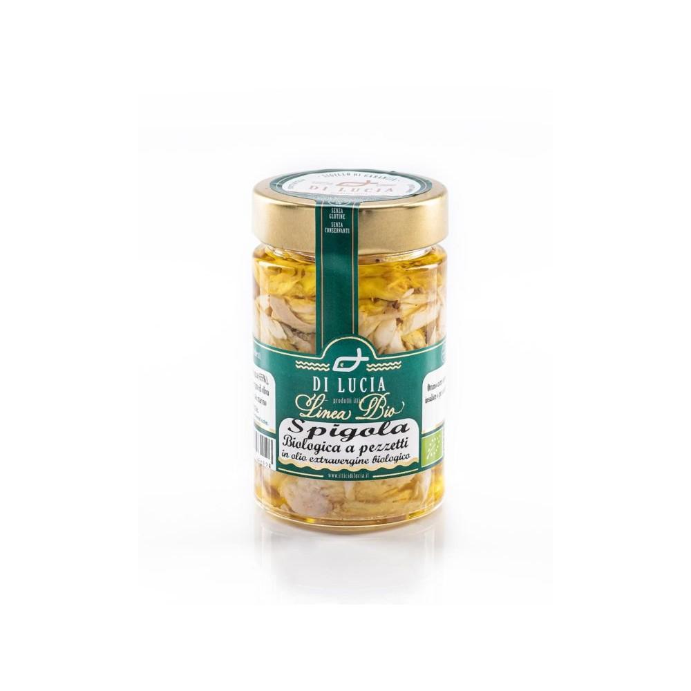 Pezzetti di spigola biologica in olio extra vergine di oliva bio