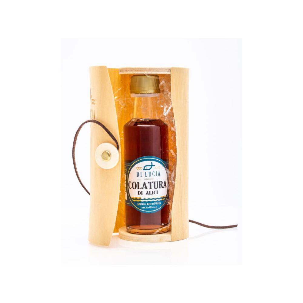 Colatura di Alici in bottiglia in cilindro di legno