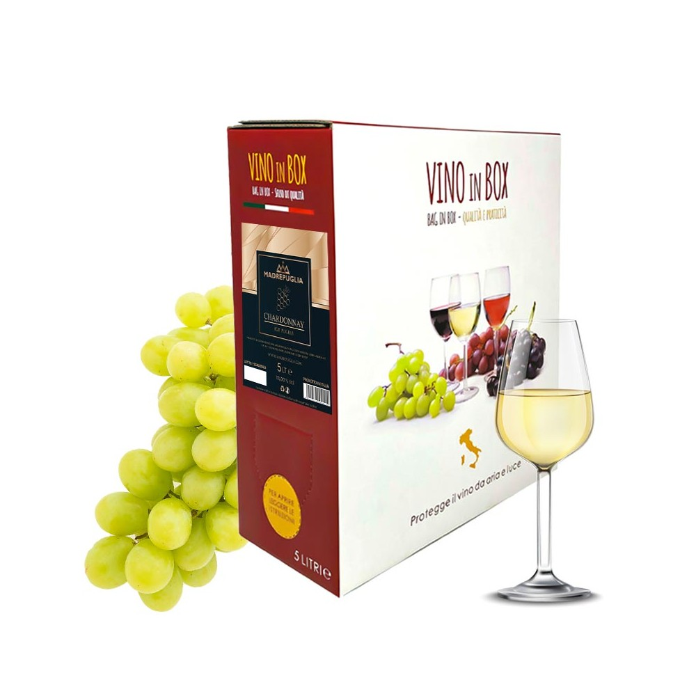 Bag in box vino bianco Chardonnay igt Puglia 5 Lt