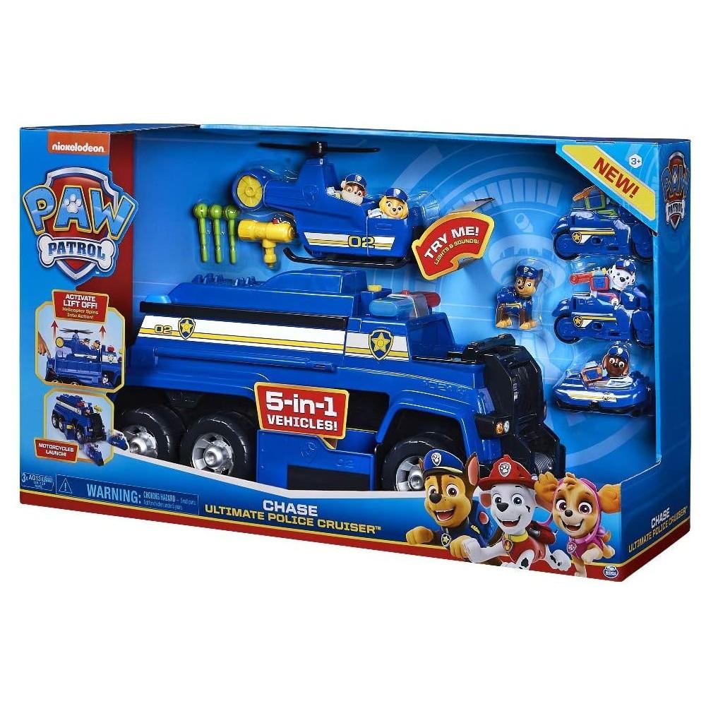 Paw Patrol, Mega Camion Della Polizia 5 in 1 di Chase con Luci Ed Effetti Sonori, dai 3 Anni - 6058329